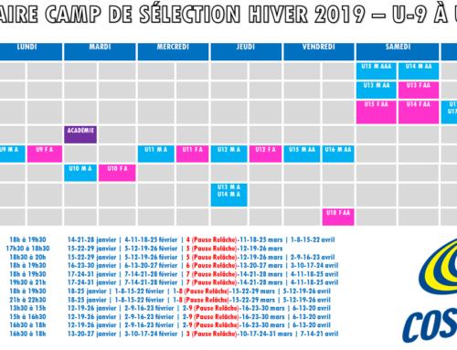 CAMP DE SÉLECTION DU VOLET COMPÉTITIF U-9 À U-18 – SESSION HIVER 2019